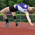 Freshman Ella Anstoetter attempts to clear the 5'1 high jump. Last year, she placed third in high jump at the Amateur Athletic Union Nationals.
