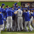 The Kansas City Royals celebrate after defeating the New York Mets 7-2 to win the World Series on Sunday, Nov. 1, 2015, at Citi Field in New York. (David Eulitt/Kansas City Star/TNS)
