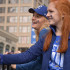Seniors Audrey Calovich and Rachael Beck watch with anticipation as the Royals World Series parade begins. The parade started at the Sprint Center and finished at Union Station.
