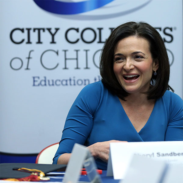 Sheryl Sandberg, shown at the City Colleges of Chicago graduation, advocates for gender equality in the workplace as part of the third wave of feminism.