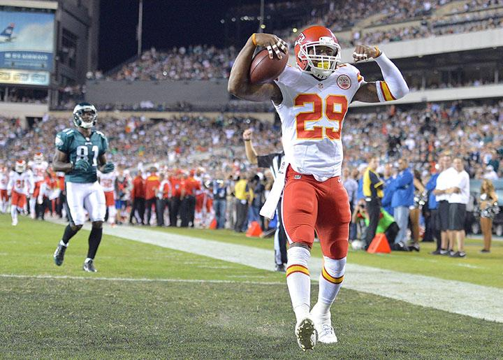 Kansas City Chiefs strong safety Eric Berry (29) intercepts a pass intended for Philadelphia Eagles tight end Brent Celek and returns it 38-yards for a touchdown in the first quarter at Lincoln Financial Field in Philadelphia, Pennsylvania, on Thursday, September 19, 2013.