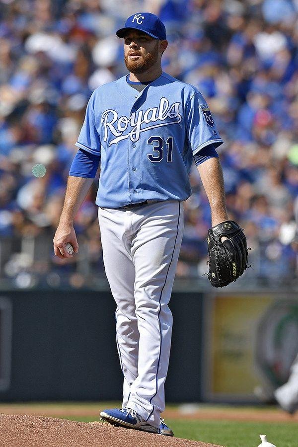 Kansas City Royals pitcher Ian Kennedy looks off into the crowd after Cleveland Indians catcher Yan Gomes hits a two-run home run in the third inning Oct. 2