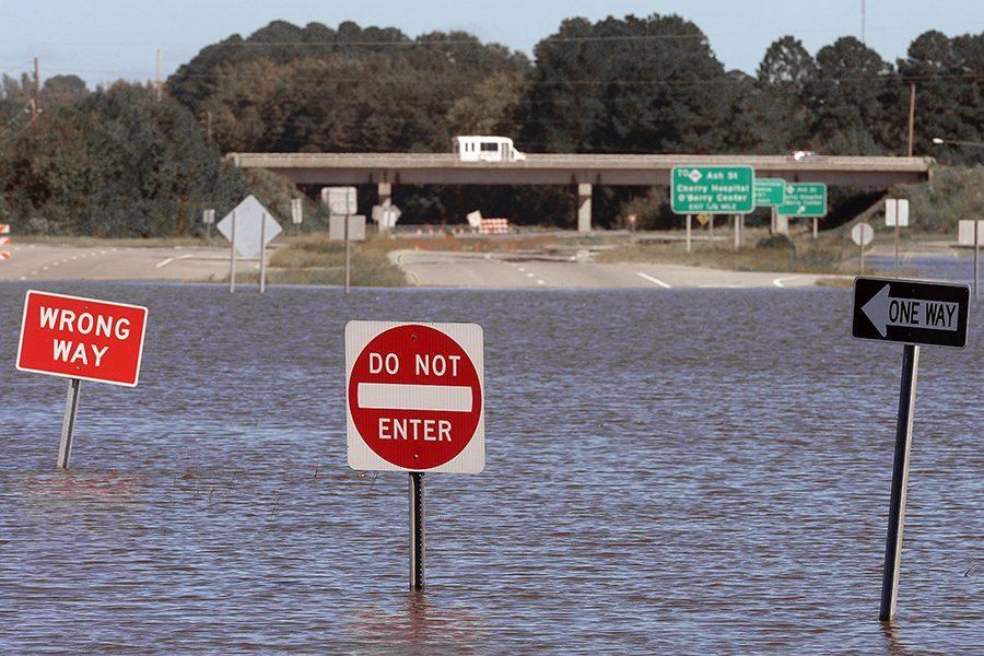 A highway in Goldsboro, N.C. is flooded as a result of Hurricane Matthew.