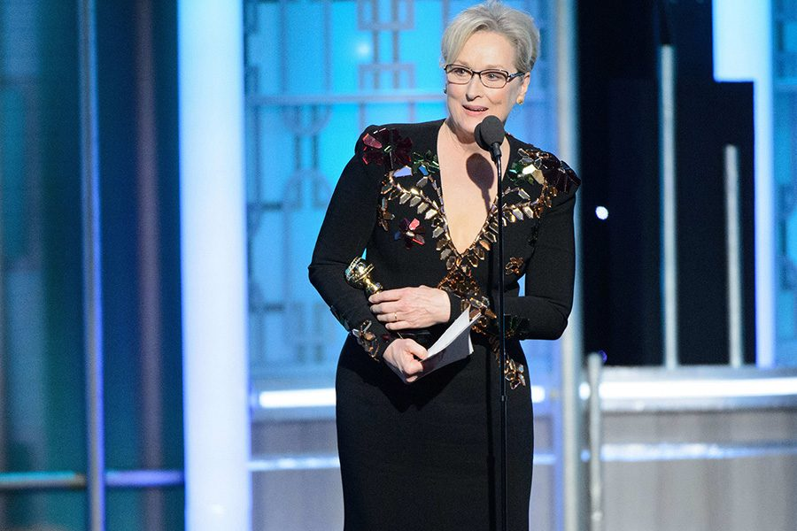 Meryl Streep accepts the Cecile B. DeMille award at the 74th Annual Golden Globe Awards at the Beverly Hotel Sunday, Jan. 8.