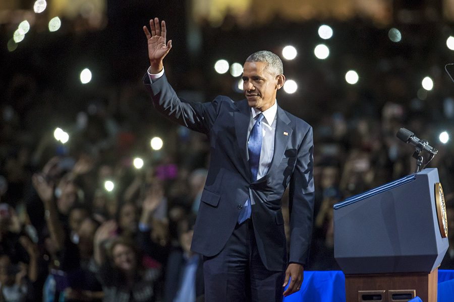 President Obama during his farewell address at McCormick Place in Chicago Jan. 10.