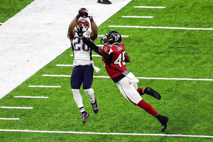 New England Patriots running back James White (28) in action against the Atlanta Falcons during Super Bowl LI Sunday, Feb. 5 at NRG Stadium in Houston, Texas.