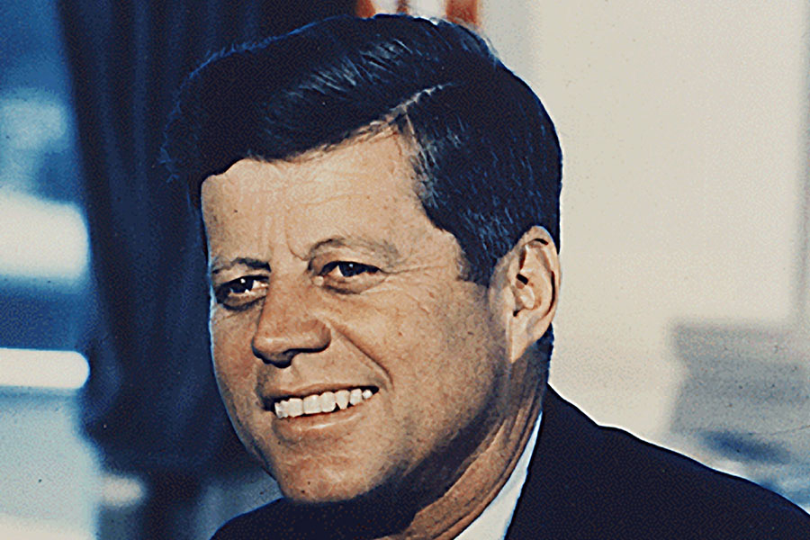 Portrait of 35th President John F. Kennedy at the White House in Washington, D.C.
