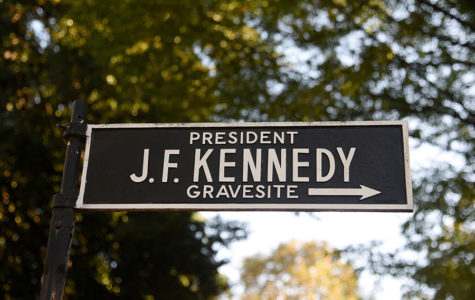 A sign seen near President John F. Kennedy grave at Arlington National Cemetery.