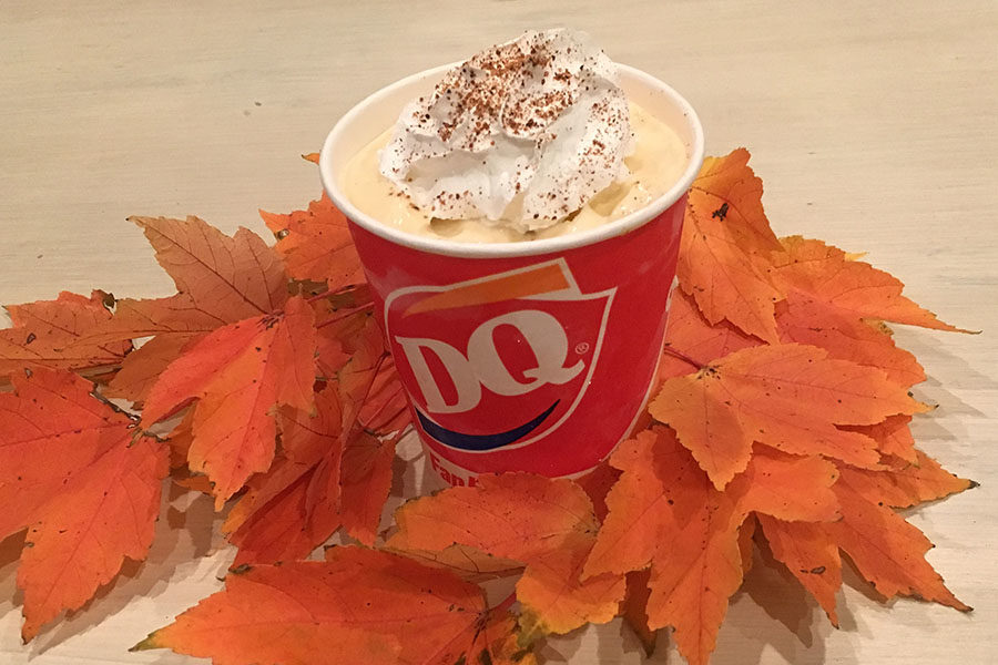 Pictured is the seasonal pumpkin spice blizzard.