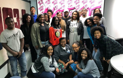 "Senior Moriana Jaco poses with the rest of the ""Generation Rap"" radio show cast members."