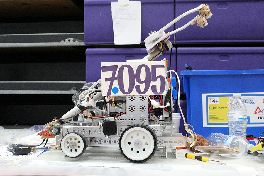 Robot 7095, built by the robotics team to carry objects the size of a volleyball, will be moving onto the state competition.