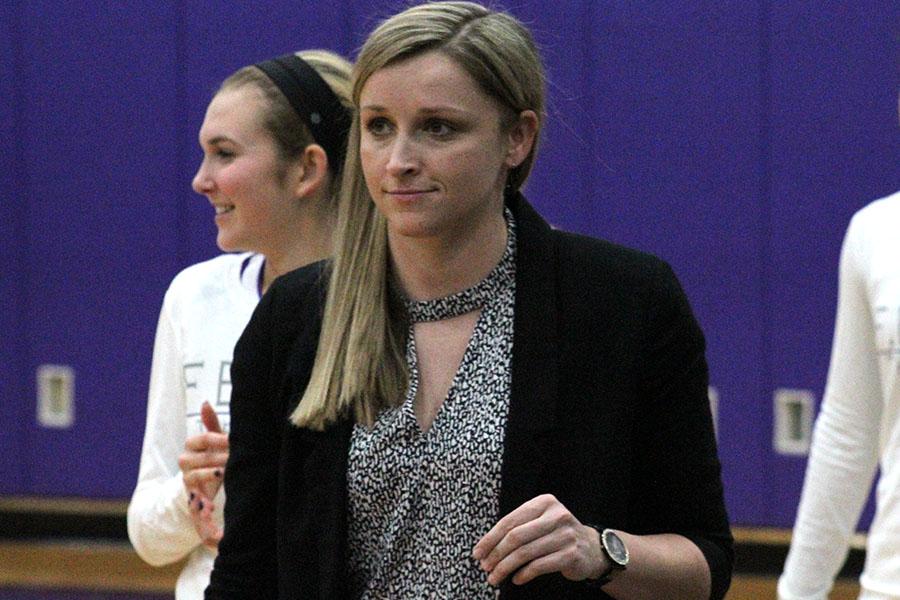 Assistant Varsity Basketball Coach Bree Kisner prepares for a home game against Park Hill Dec. 11.