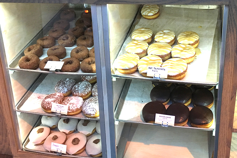 The Doughnut Lounge offers a wide array of doughnuts and breakfast items.
