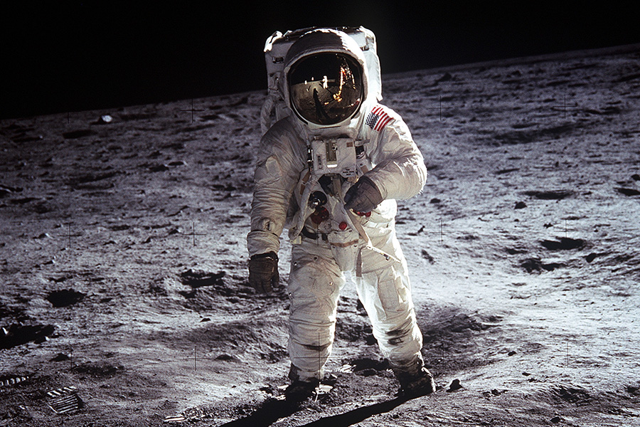 Astronaut Buzz Aldrin poses for a picture standing on the moon during Apollo 11.
