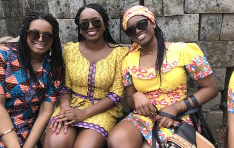 Sophomore Munachi Okuagu, alumna Chioma Okuagu and senior Chigozie Okuagu pose for a picture in Nigeria.