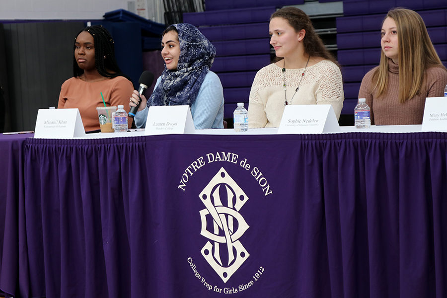 Alumna+of+the+class+of+2016+Manahil+Khan+talks+about+her+life+at+University+of+Kansas+alongside+alumnae+Chioma+Okuagu%2C+Lauren+Dwyer+and+Sophie+Nedelco.