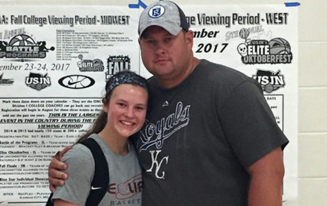Senior Varsity Basketball Co-Captain Mariah Lynn  with her father and Freshman Basketball Coach Chad Lynn pose for a picture after Lynn's last Amateur Athletic Union Basketball tournament in Denver July 2017.