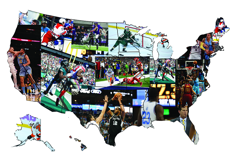 An illustration of the United States made up of pictures from professional sport teams across the country.