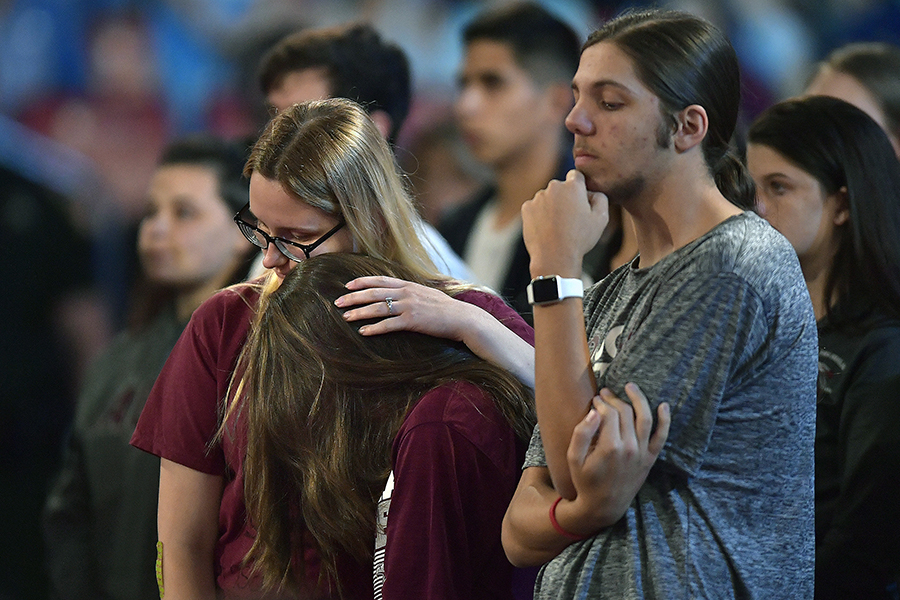Marjory Stoneman Douglas High School students and parents during a CNN town hall meeting to begin on Wednesday, Feb. 21, 2018, at the BB&T Center, in Sunrise, Fla.