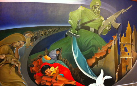 "This mural painted in the Denver International Airport, named ""Sinister Sites,"" depicts a man with a Nazi hat and gas mask for a face holding a sword in one hand and a rifle in the other with an endless number of suffering people behind him."