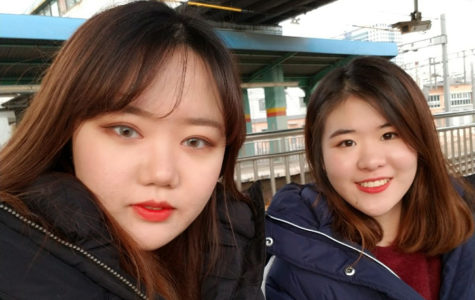 Seniors Su Hyun Park and Jiho Lee take a selfie while on their winter break overseas trip.