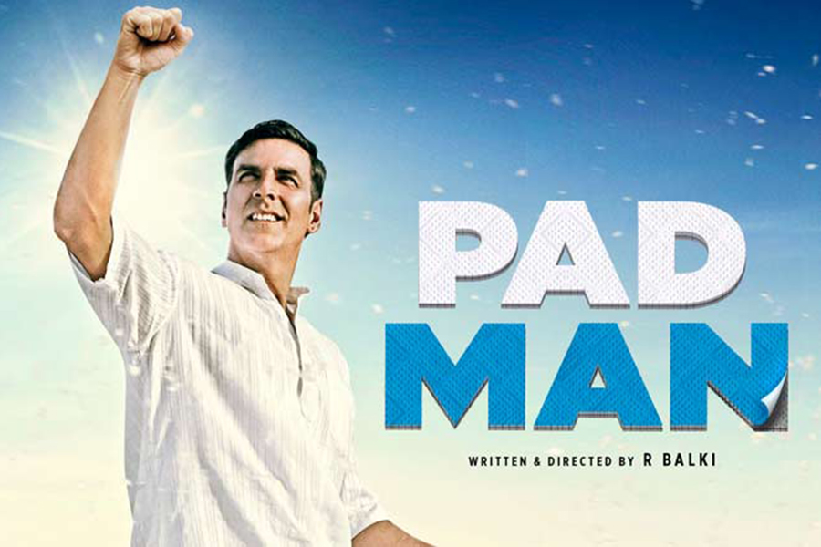 """Actor Akshay Kumar portrays main character Lakshmikant Chauhan on the """"Padman"""" official movie poster. Copy:"""