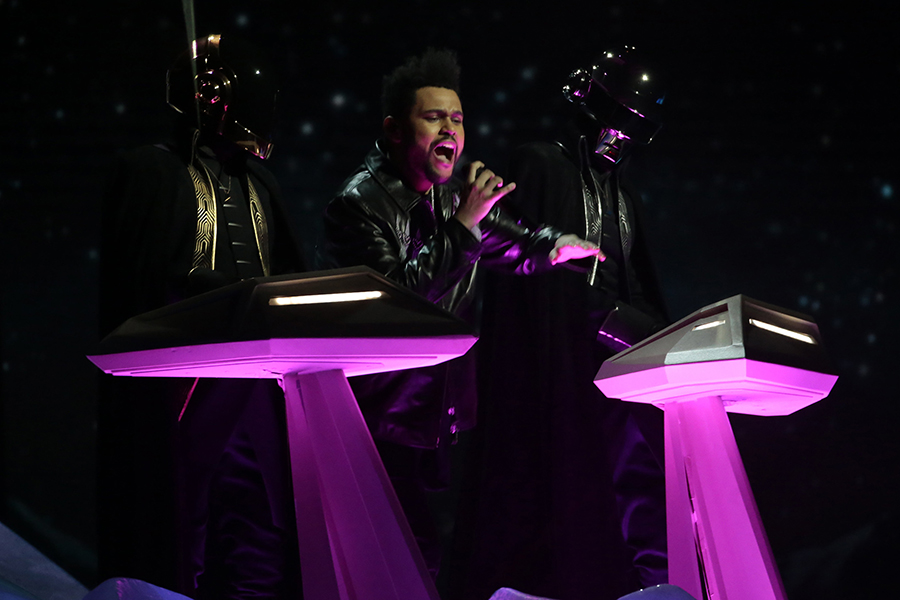 The Weeknd performs during the 59th Annual Grammy Awards at Staples Center in Los Angeles on Sunday, Feb. 12.