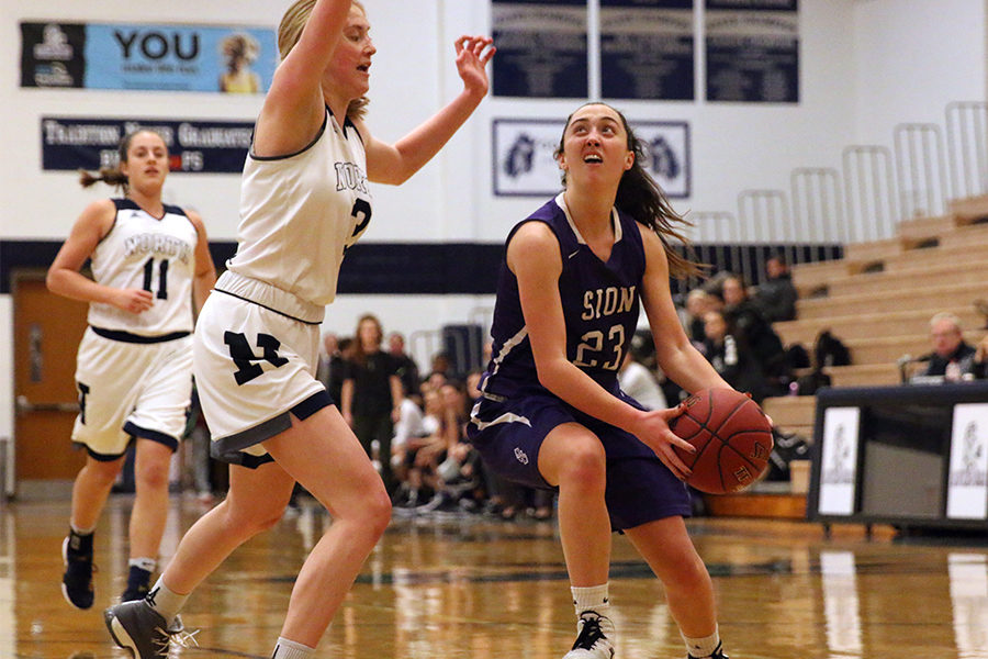 During the MOKAN basketball tournament, senior Meghan Frerking goes up for a layup while being guarded by Blue Valley North junior Kayley Cassaday. The storm lost the game 53-59 and played Staley High School in the third game of the tournament to win 45-33 and place third overall in the tournament.