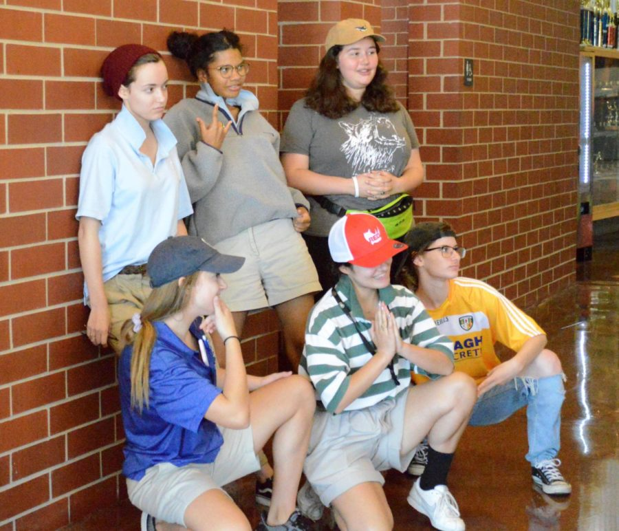 Seniors Mary Kelly Shevlin, Gwyn Powell, Grace Hopewell, Savannah Childress, Caroline Hunter and Rachel Bennett pose for a picture in the Grande Salle Sept. 17. The spirit week theme of the day was Sion School for Boys.