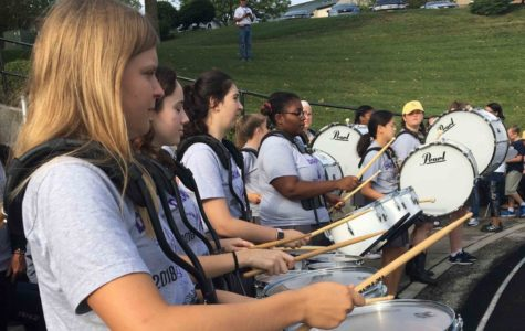 The drum line plays at the Kansas State School for the Blind during their track meet Sept. 21.