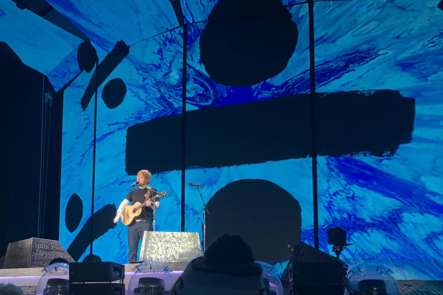 "Singer Ed Sheeran performs one of his songs from the albumn ""Divide"" at Arrowhead Stadium Oct. 13."
