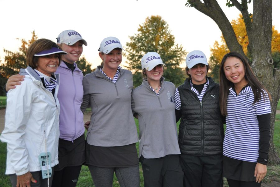 Golf+coach+Dana+Hoeper%2C+Junior+Barbara+King%2C+Sophomores+Megan+Propeck%2C+Lia+Johnson%2C+Caroline+Giocondo+and+Junior+Helen+Willis+get+their+picture+taken+after+winning+second+place+for+the+second+year+in+a+row+at+the+Class+2+State+championships+at+Swope+Memorial+Golf+Course+Oct.+16.