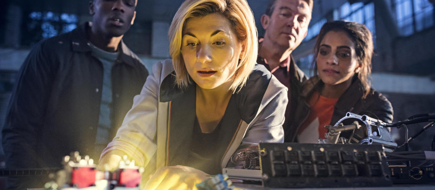 Jodie Whittaker playing the first ever female Doctor and 3 her companions during the season 11 premiere of