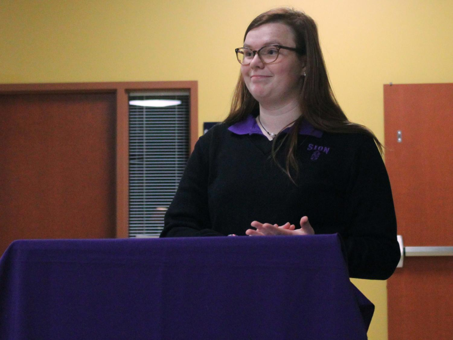 Junior Zoey Jenson performs at the first ever Debate Showcase Dec. 4.
