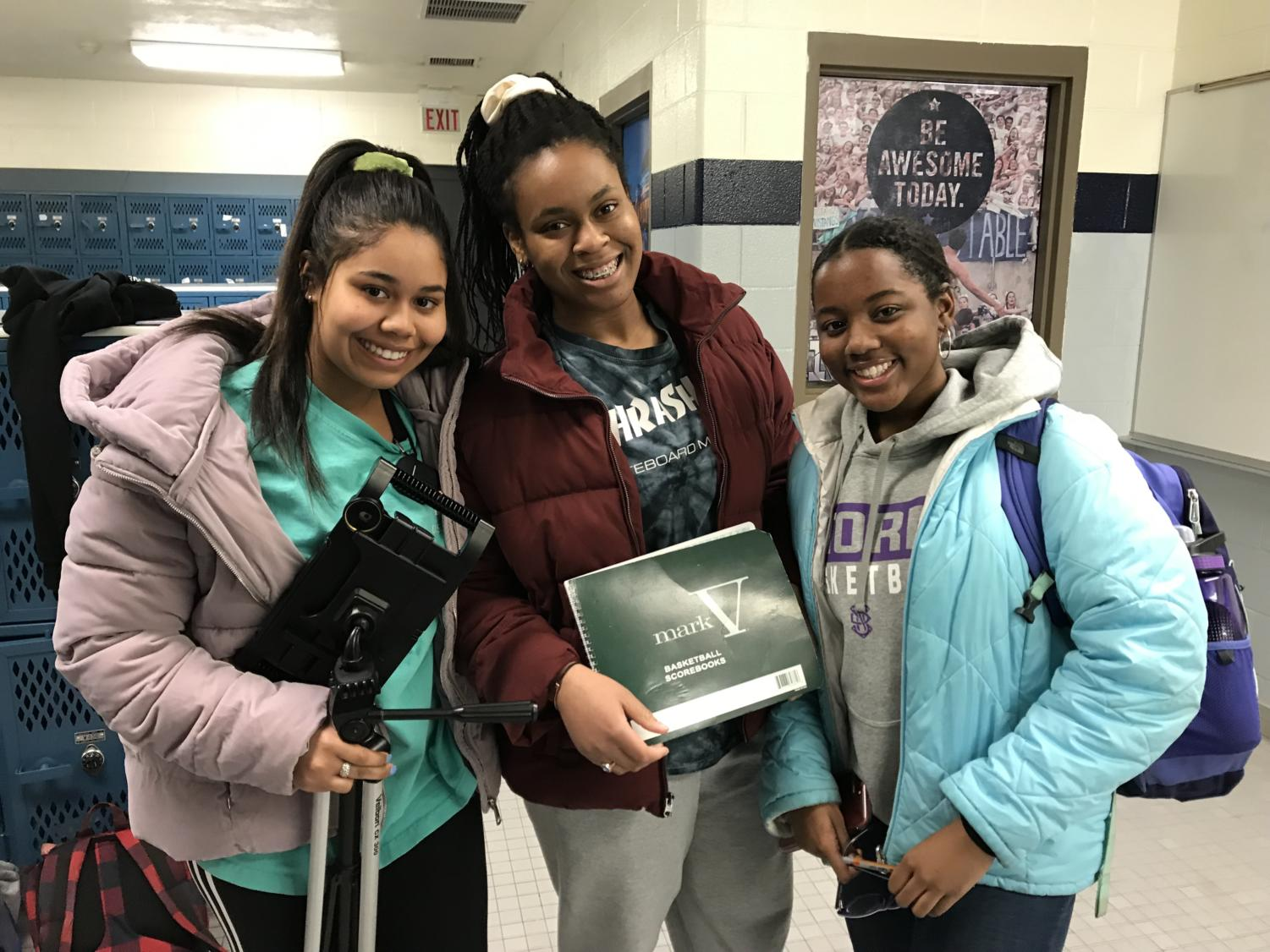 Juniors Christina Peters and Munachi Okuagu and sophomore Heaven Butler managed during the Blue Valley North Tournament Jan. 15 to 17.
