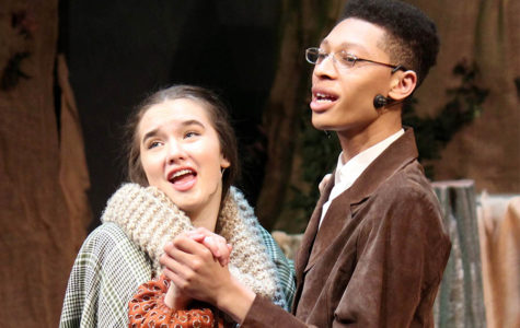 Junior Peyton Wade as the baker's wife sings a duet with Central High School junior Sheridan Mirador, the baker, during the dress rehersal for Into the Woods, Jan. 26.