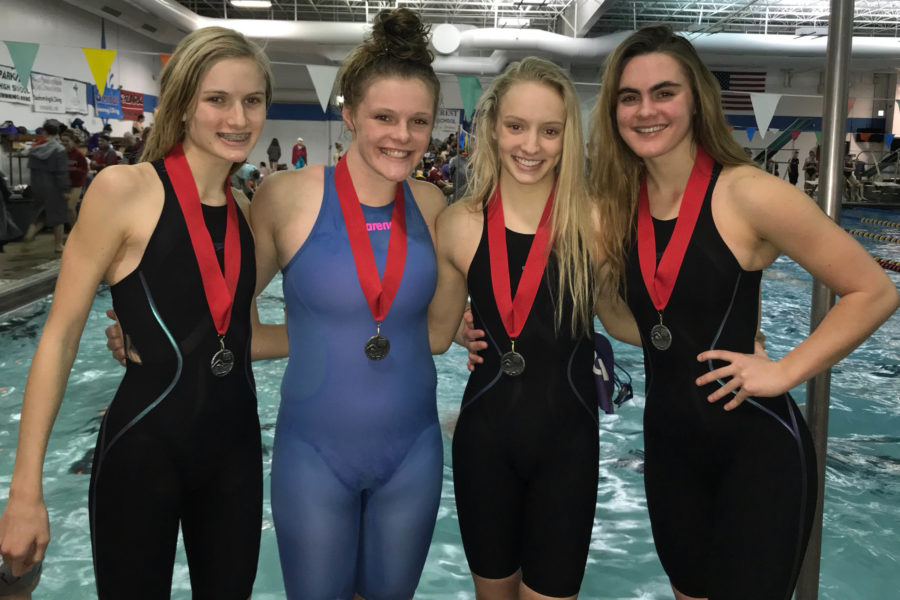 Freshman+Grace+Townsend%2C+sophomore+Kate+Conway%2C+junior+Oliva+Townsend+and+Senior+Katie+DeLong+qualified+for+the+State+meet+Jan.+26+with+their+freestyle+relay.
