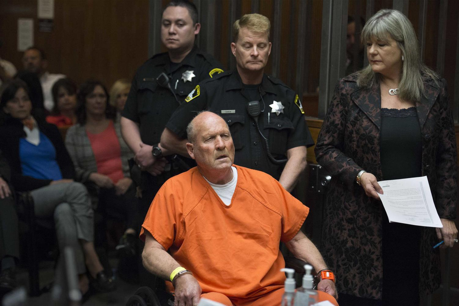 Joseph James DeAngelo, the suspected East Area Rapist, is arraigned in a Sacramento courtroom and charged with murdering Katie and Brian Maggiore in Rancho Cordova in 1978 on Friday, April 27, 2018, in Sacramento, Calif. (Randy Pench/Sacramento Bee/TNS)