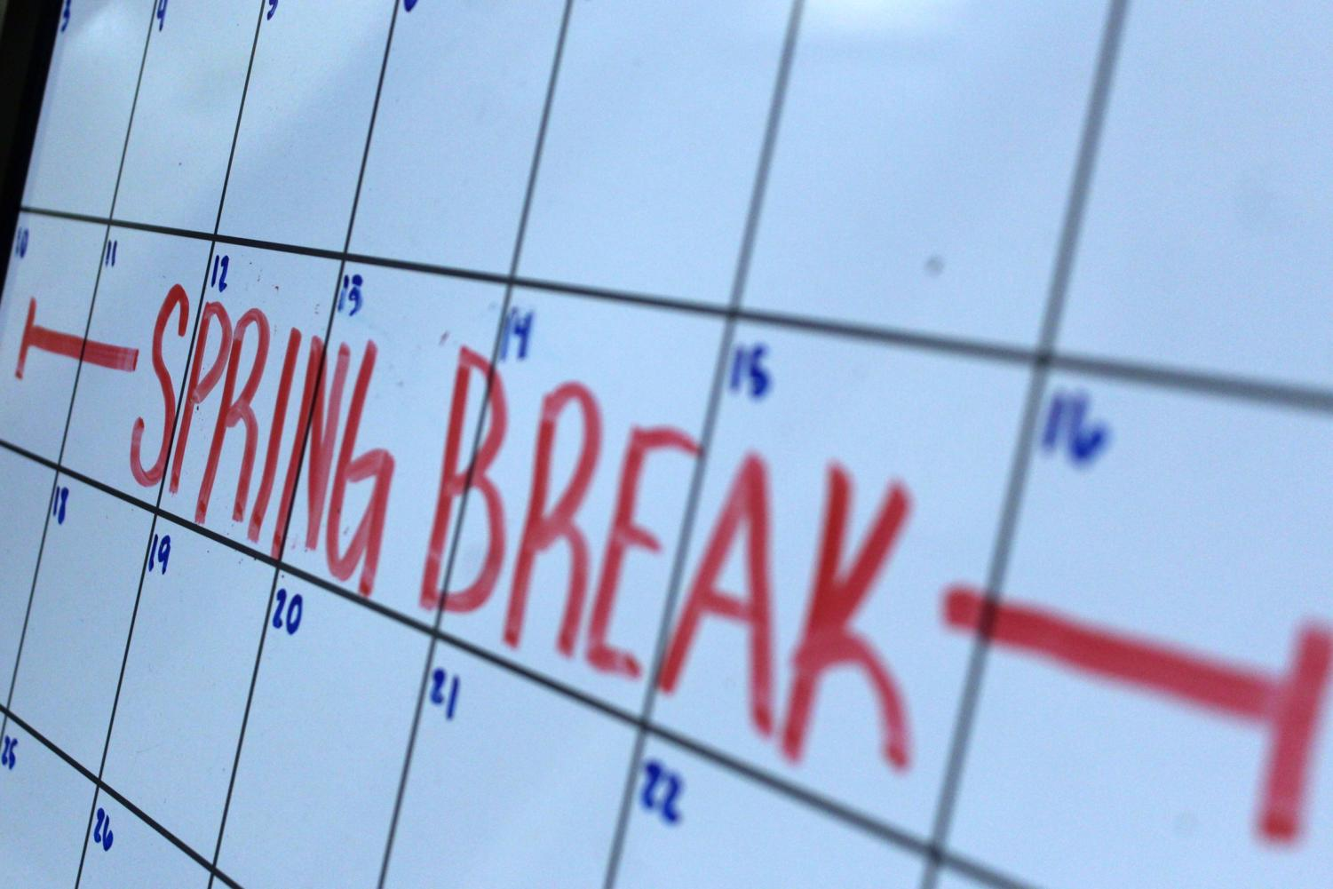 School will be off for Spring Break from March 11 to March 18. The first day back will be March 19, since students recieved March 18 off for reaching the car raffle goal.