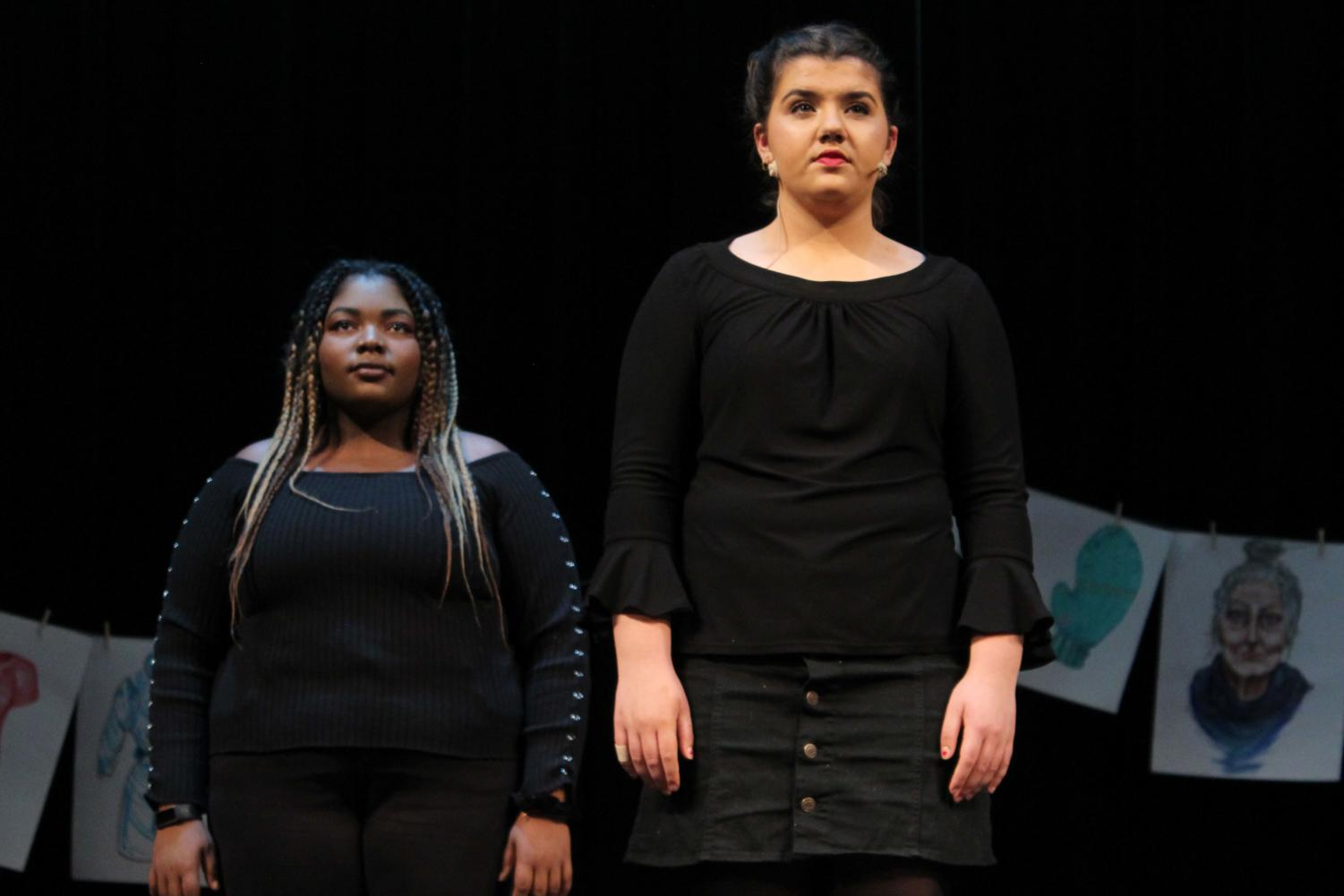 "At the dress rehearsal March 21, junior Maya Bair and senior Tempest Malone perform in the spring play, ""Love, Loss and What I was Wearing."" The play was a collection of mologues depicting the reality of being a woman."