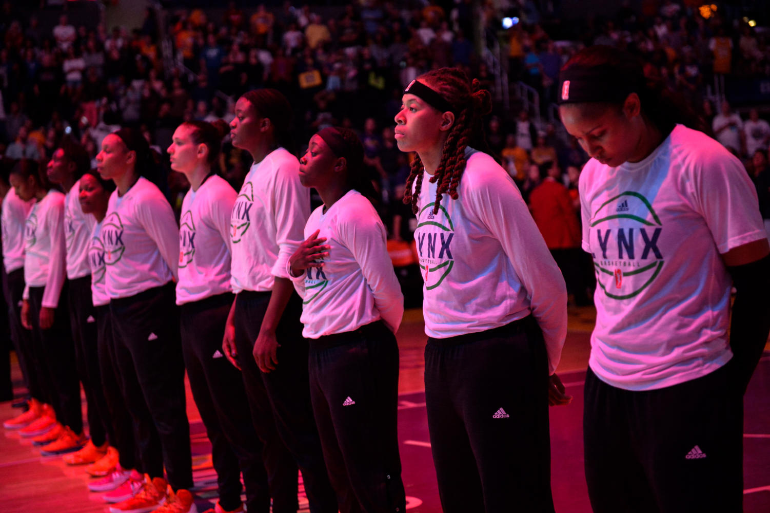 The Minnesota Lynx stand for the national anthem without their arms crossed for the first time before game four of the WNBA Finals on Sunday, Oct. 1, 2017 at Staples Center in Los Angeles, Calif. (Aaron Lavinsky/Minneapolis Star Tribune/TNS)