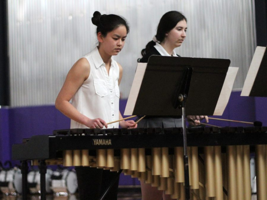 """In the talent showcase during Fine Arts Week, senior Sarah White and junior Ceresa Munjak-Khoury play """"Under the Sea"""" from Disney's """"The Little Mermaid"""" April 25."""