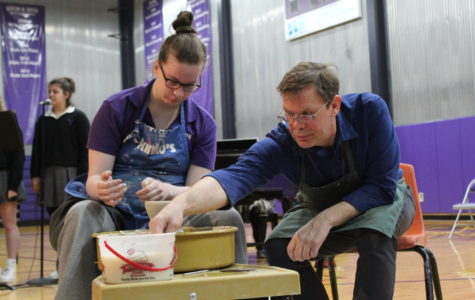Senior Katie Rosasco and art teacher Michael Pesselato helped connect the lines between pottery and forgiveness.