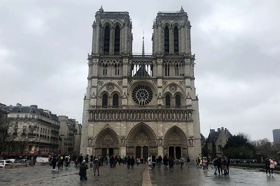 Notre Dame Cathedral in the heart of Paris March 14.