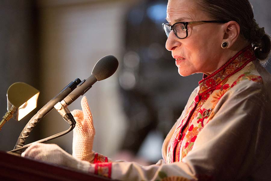 Supreme Court Justice Ruth Bader Ginsburg speaks at an annual Women's History Month reception hosted by Pelosi in the U.S. capitol building on Capitol Hill in Washington, D.C.  This year's event honored the women Justices of the U.S. Supreme Court: Associate Justices Ruth Bader Ginsburg, Sonia Sotomayor, and Elena Kagan. (Allison Shelley/Getty Images/TNS)
