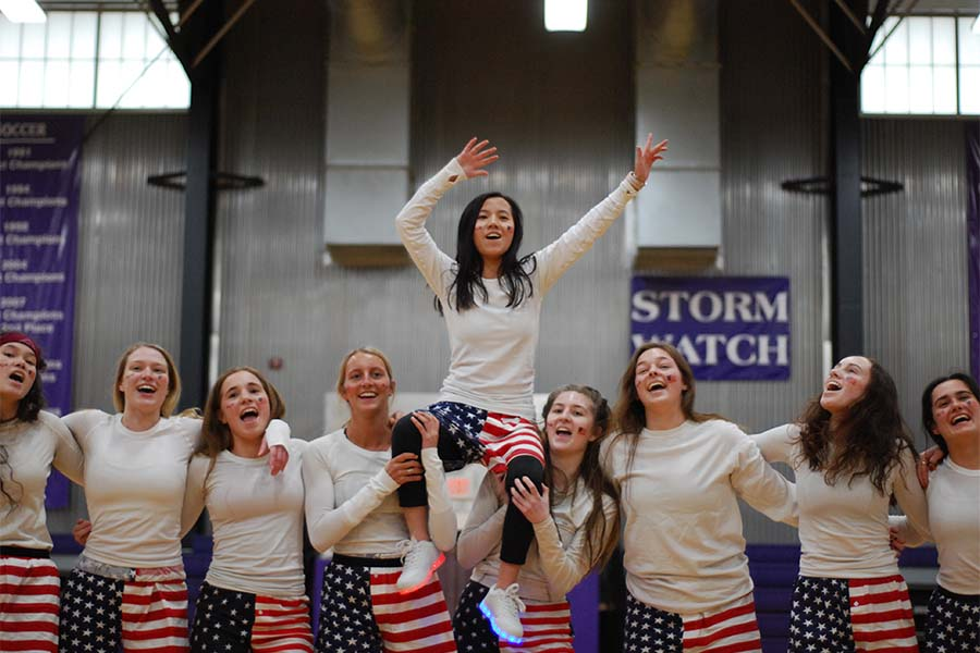 "The senior class Stuco officers end their dance swaying to ""Take me Home, Country Roads"" at Sion Olympics March 7."
