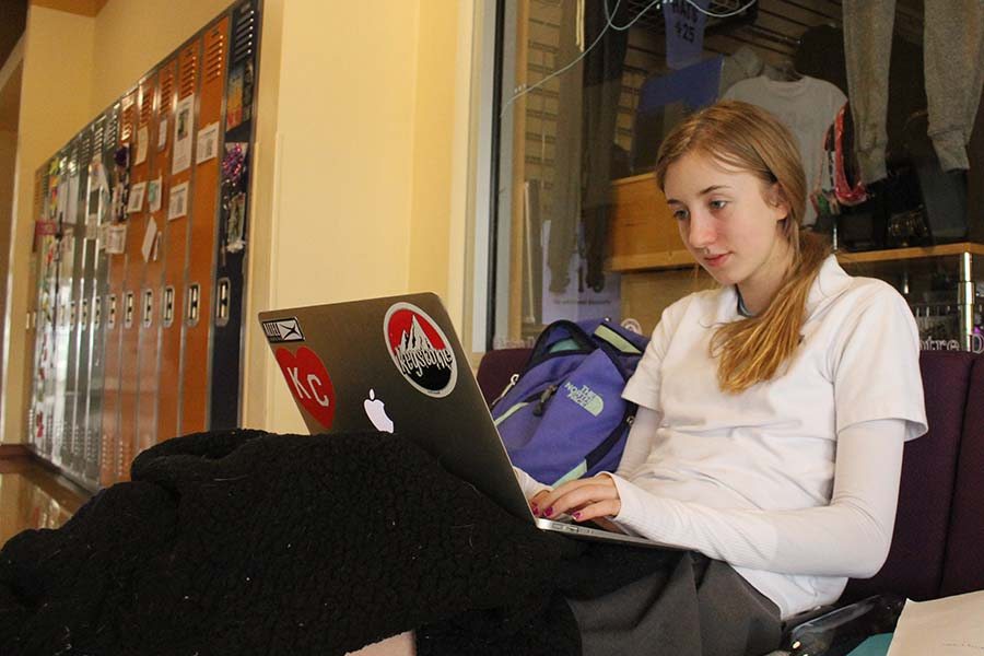 Sophomore Addie Vance studies for a class.