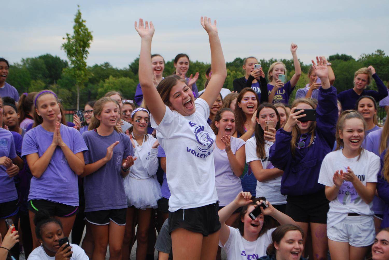 Junior Brynna Dow dances at last year's field day Sept. 23, 2018. This year's spirit week is Sept. 9 through Sept. 13. Field day is Friday, Sept. 13 following a half-day of classes.