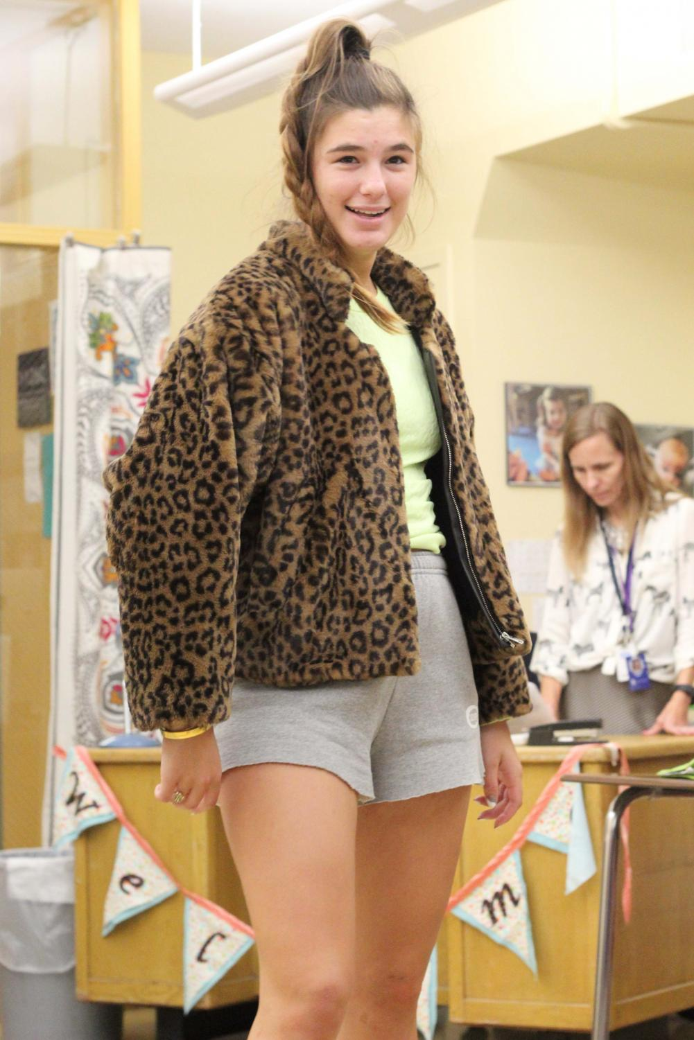 Striking+a+pose+in+her+cheetah+print+jacket%2C+Senior+Reilly+Jackoboice+shows+off+her+Pattern+Day+look+to+her+friends+Sept.+9.