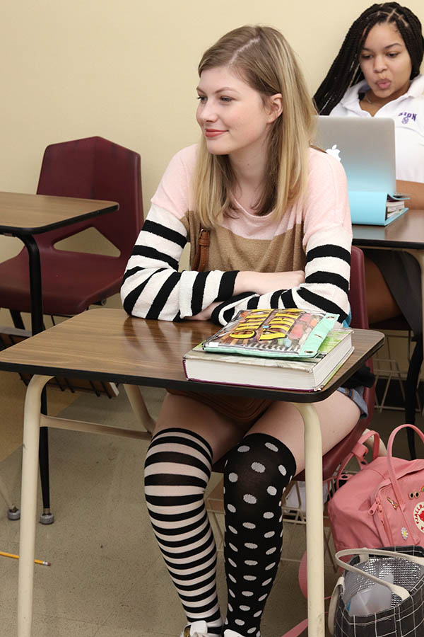 Dressed+in+polka+dots+and+stripes+from+head+to+toe%2C+senior+Gracie+Dorman+sits+in+class+Sept+9.+For+the+start+of+Spirit+Week%2C+students+participated+in+Pattern+Day.+